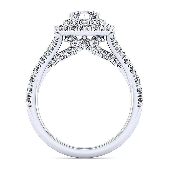 14K White Gold Marquise Shape Double Halo Diamond Engagement Ring