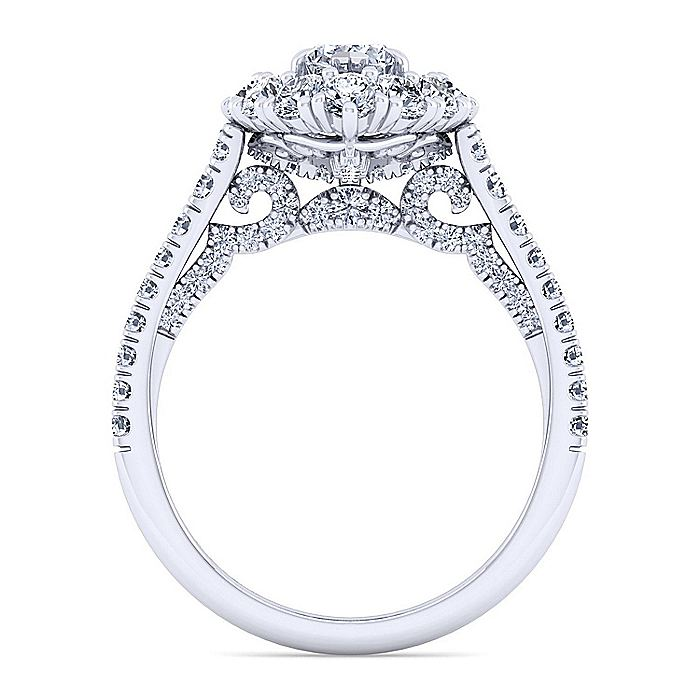 14K White Gold Marquise Shape Double Halo Diamond Engagement Ring