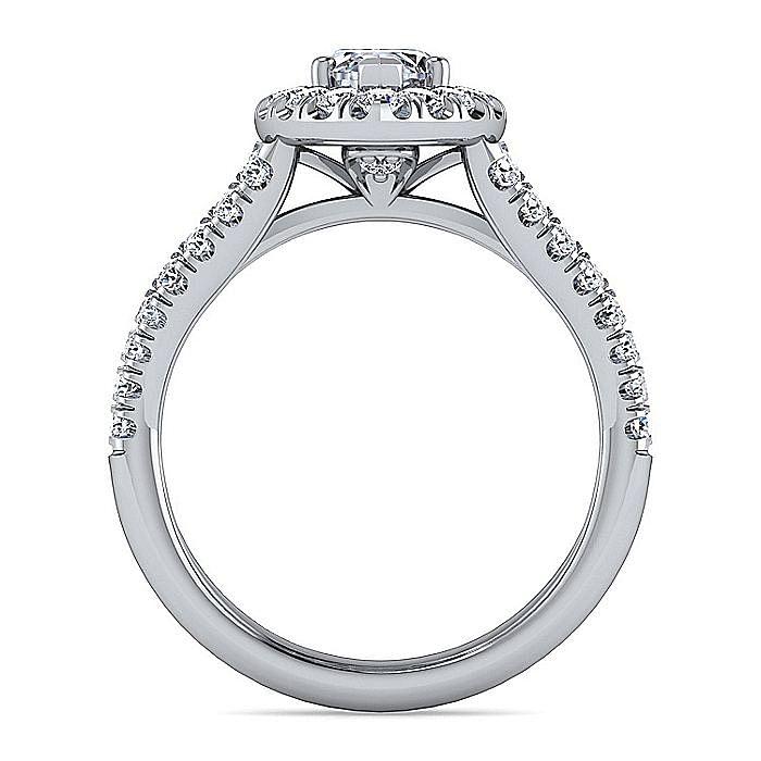14K White Gold Marquise Shape Halo Diamond Engagement Ring