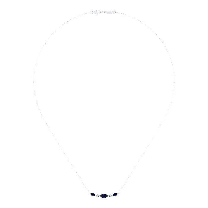 14K White Gold Marquise Shape Sapphire and Bezel Set Diamond Bar Necklace