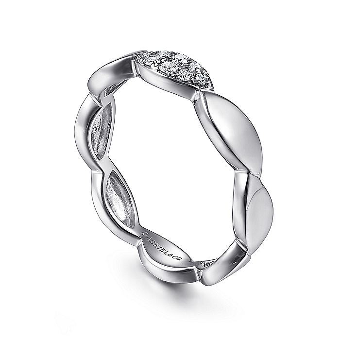 14K White Gold Marquise Shape Stackable Ring with Pavé Diamond Station