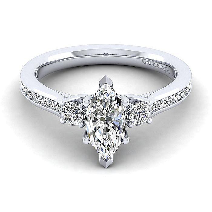14K White Gold Marquise Shape Three Stone Diamond Engagement Ring