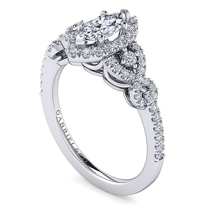 14K White Gold Marquise Shape Three Stone Halo Diamond Engagement Ring
