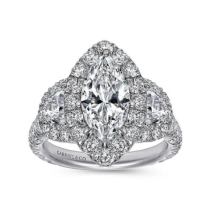 14K White Gold Marquise Shape Three Stone Halo Diamond Engagement Ring