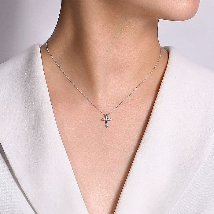14K White Gold Marquise Shaped Diamond Cross Necklace