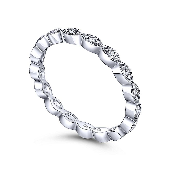 14K White Gold Marquise Station Diamond Eternity Stackable Ring