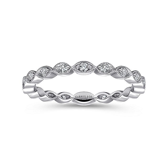 14K White Gold Marquise Station Diamond Stackable Ring
