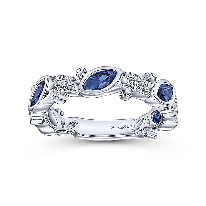 14K White Gold Marquise Station Sapphire and Diamond Ring