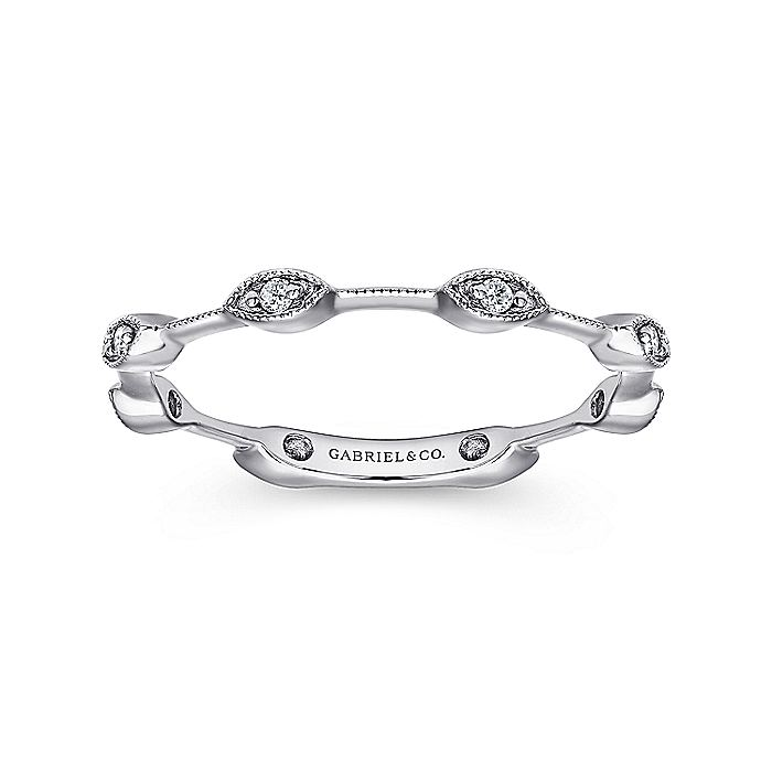 14K White Gold Marquise Station Stackable Diamond Ring