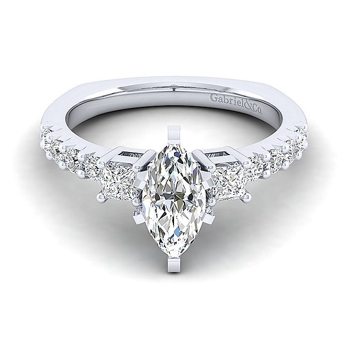 14K White Gold Marquise Three Stone Diamond Engagement Ring
