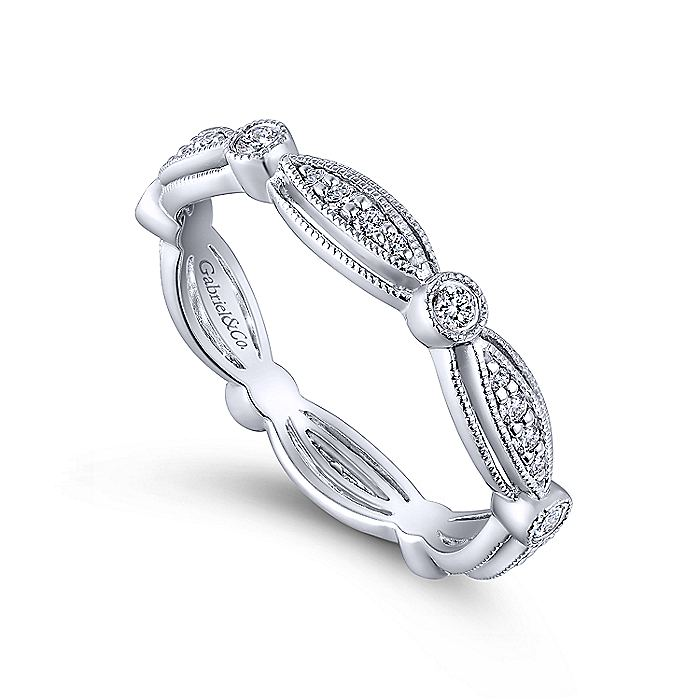 14K White Gold Marquise and Round Station Diamond Eternity Ring