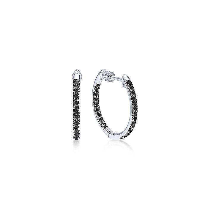 14K White Gold Micro Pavé 15mm Round Inside Out Black Diamond Hoop Earrings