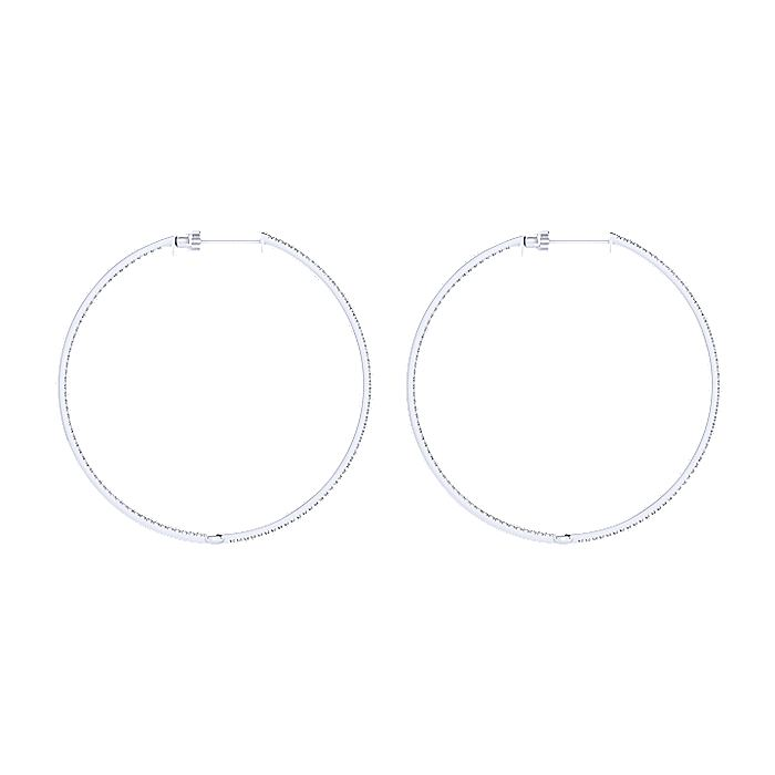 14K White Gold Micro Pavé 50mm Round Inside Out Diamond Hoop Earrings