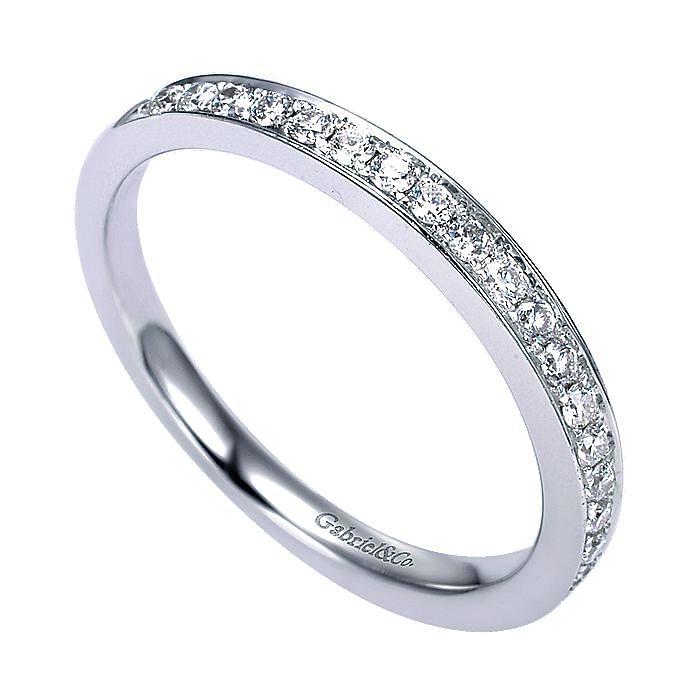14K White Gold Micro Pavé Channel Set Diamond Wedding Band