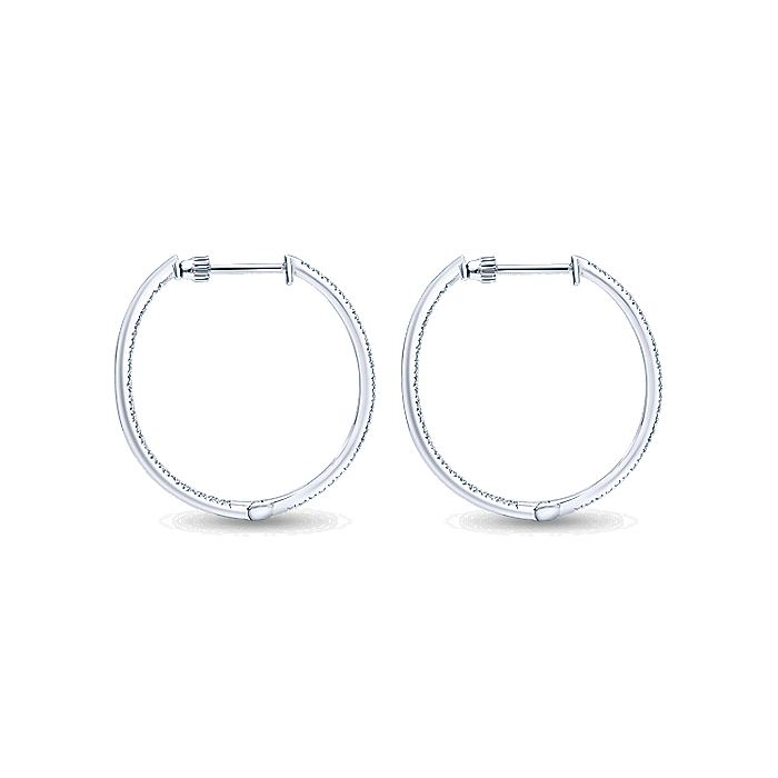 14K White Gold Micro pave 30mm Round Inside Out Diamond Hoop Earrings