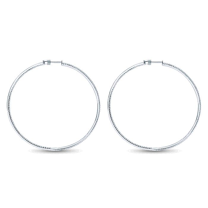 14K White Gold Micro pave 65mm Round Inside Out Diamond Hoop Earrings