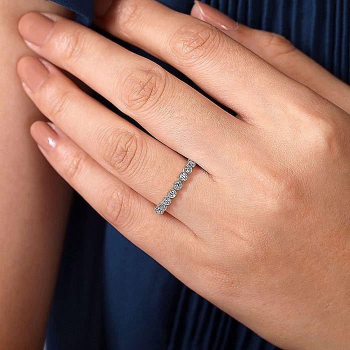 14K White Gold Millgrain Bezel Diamond Stackable Ring