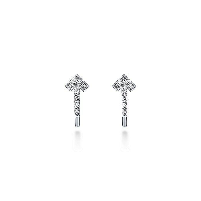 14K White Gold Millgrain Diamond Huggie Earrings