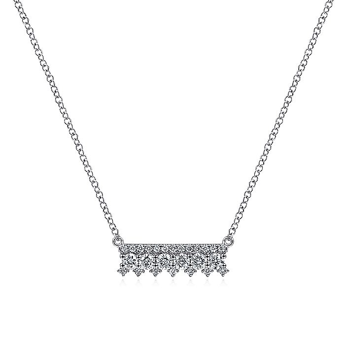 14K White Gold Mini Diamond Bar Necklace