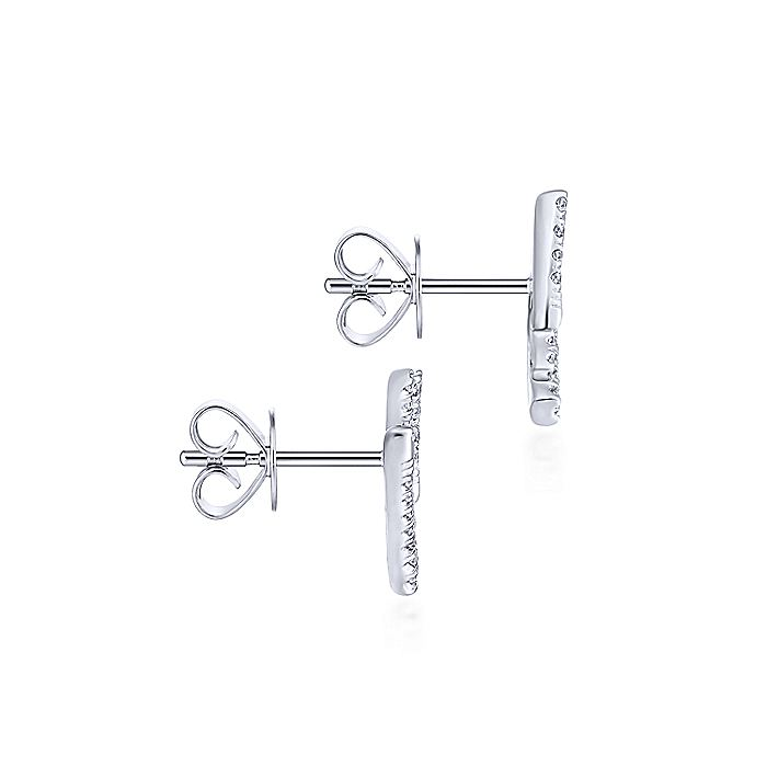 14K White Gold Modern Fan Motif Diamond Stud Earrings