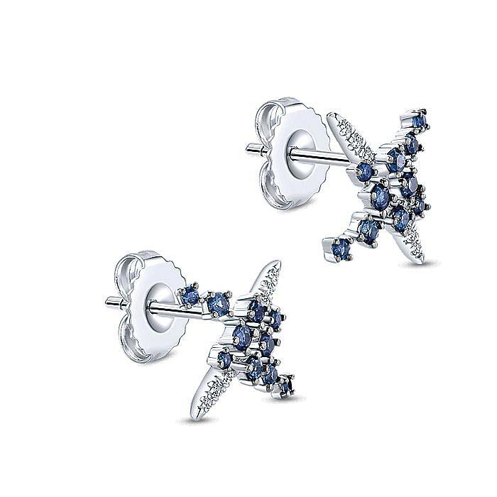 14K White Gold Modern Scattered Sapphire and Diamond Stud Earrings