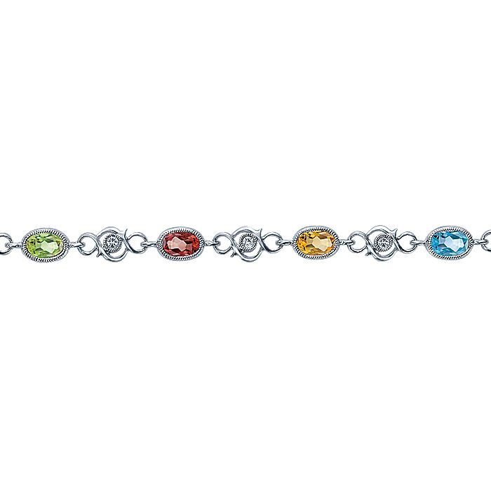 14K White Gold Multi Oval Color Stone Tennis Bracelet