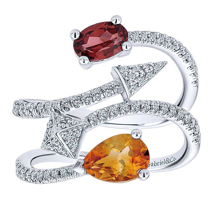 14K White Gold Multi Row Citrine, Garnet and Diamond Abstract Ring