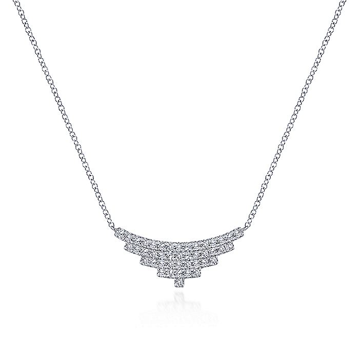14K White Gold Multi Row Diamond Pendant Necklace
