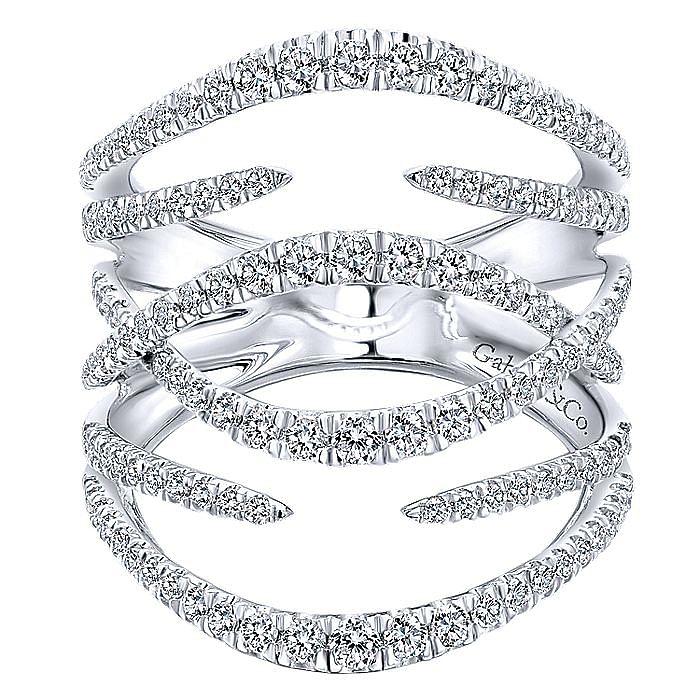 14K White Gold Multi Row Split Diamond Statement Ring