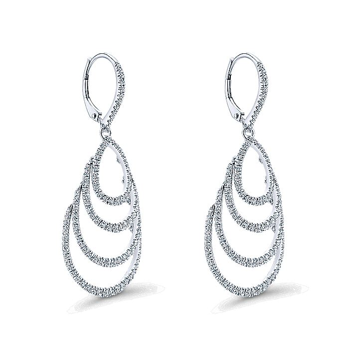 14K White Gold Multi Row Teardrop Diamond Drop Earrings