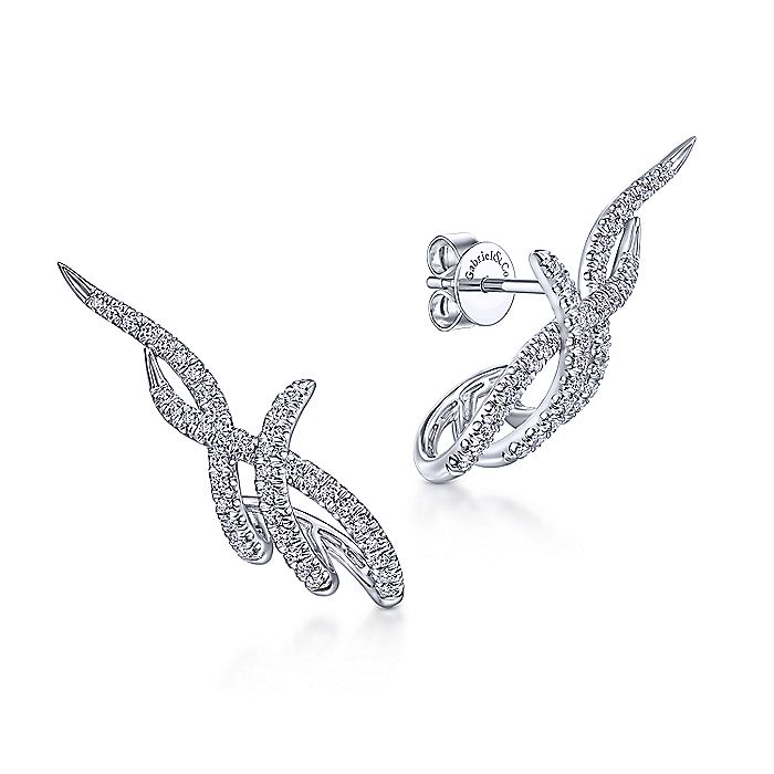 14K White Gold Multi Twisted Rows Diamond Stud Earrings
