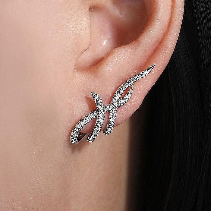 14K White Gold Multi Twisted Rows Diamond Stud Earrings