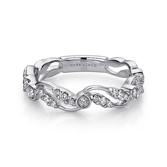 14K White Gold Nature Inspired Diamond Band