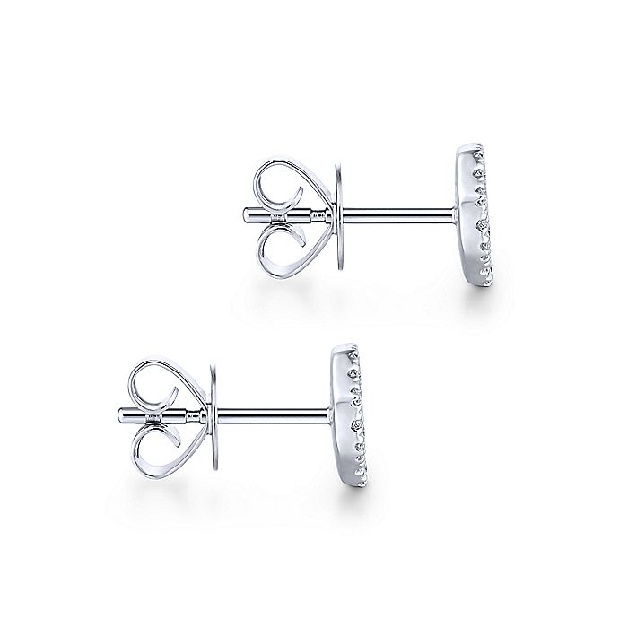 14K White Gold Octagonal Cluster Diamond Stud Earrings