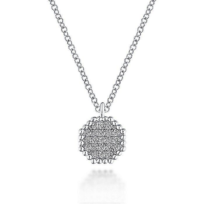 14K White Gold Octagonal Diamond Pavé Pendant Necklace with Beaded Frame