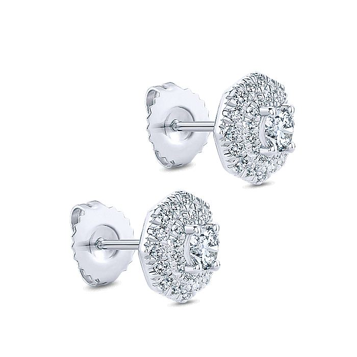 14K White Gold Octagonal Double Halo Diamond Stud Earrings