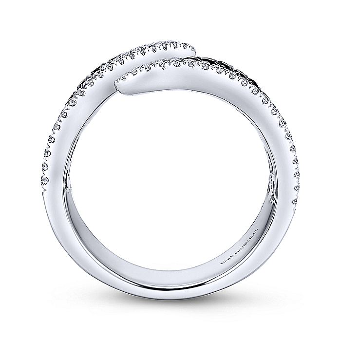 14K White Gold Open Black and White Diamond Open Ring