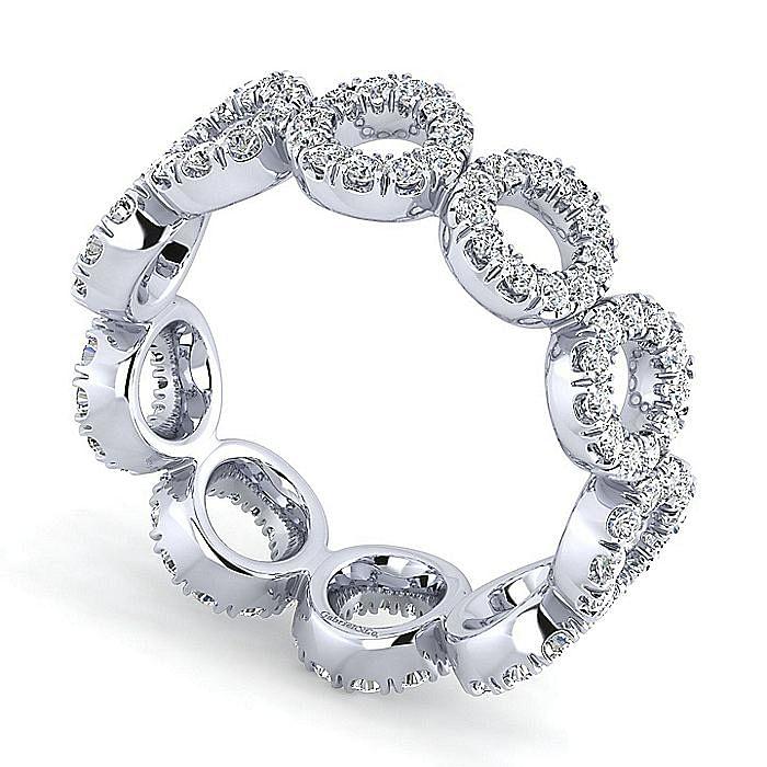 14K White Gold Open Circle Diamond Eternity Ring