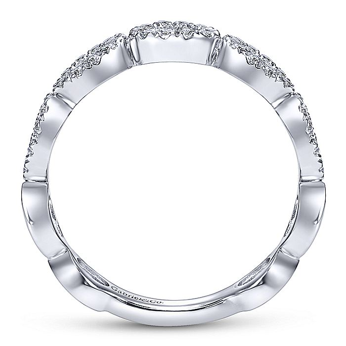14K White Gold Open Circles Diamond Band