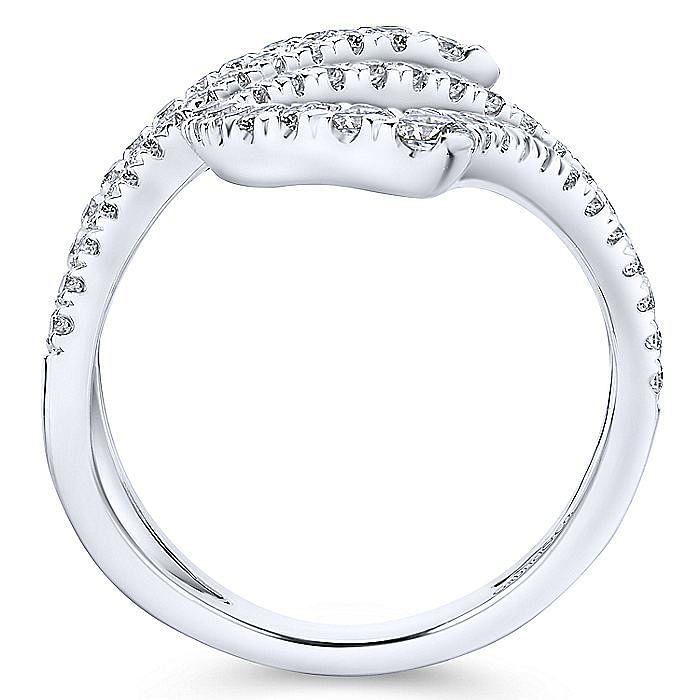 14K White Gold Open Diamond Bypass Ring
