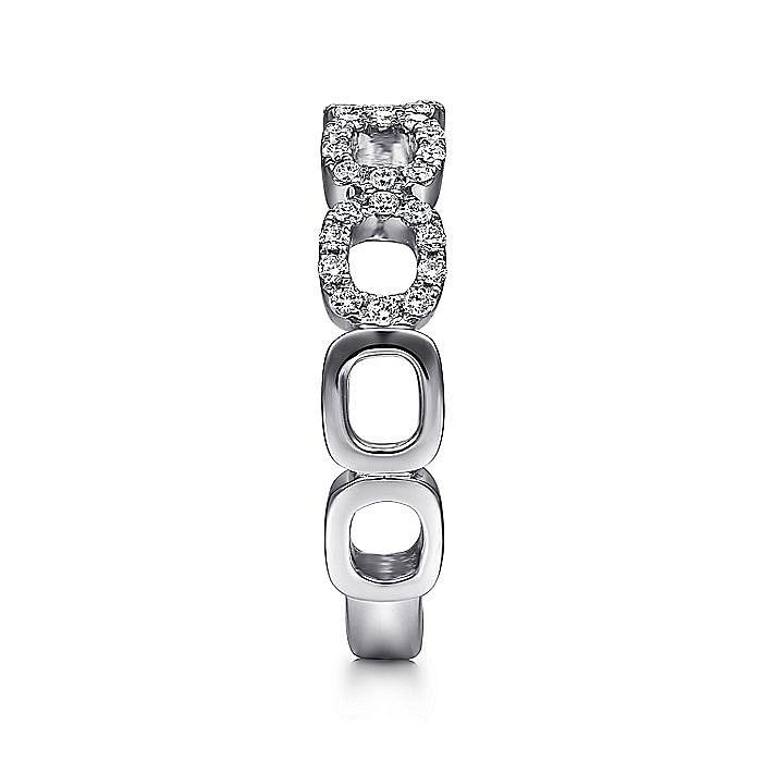 14K White Gold Open Diamond Circle Band