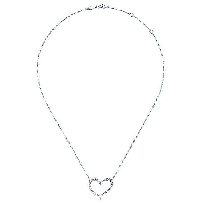 14K White Gold Open Diamond Heart Pendant Necklace