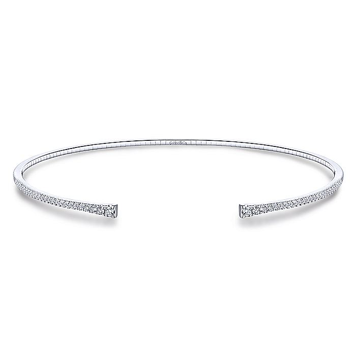 14K White Gold Open Diamond Pavé Collar Necklace