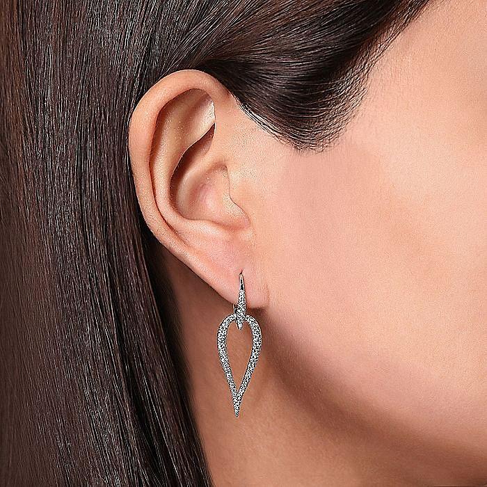14K White Gold Open Diamond Teardrop Leverback Earrings