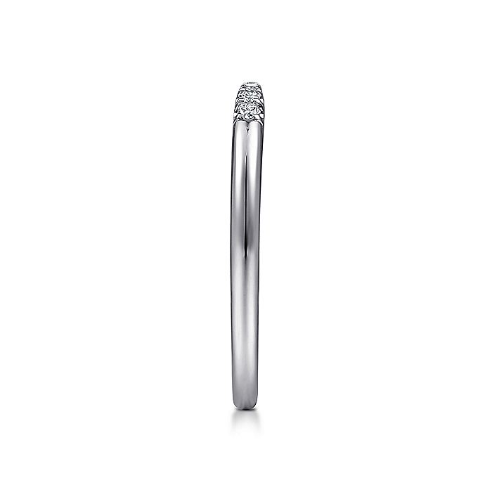 14K White Gold Open Diamond Tipped Stackable Ring