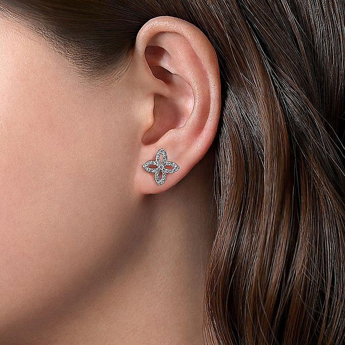 14K White Gold Open Floral Pavé Diamond Stud Earrings