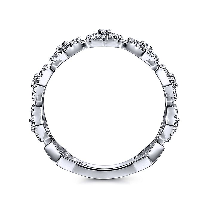 14K White Gold Open Hexagonal Diamond Stackable Ring