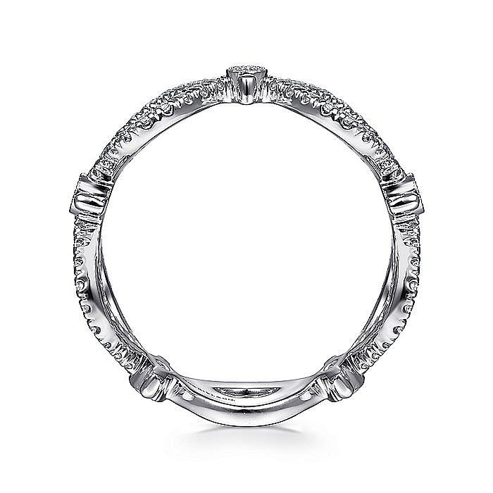 14K White Gold Open Link Diamond Station Ring