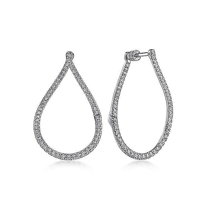 14K White Gold Open Pear Shape Diamond Huggie Earrings