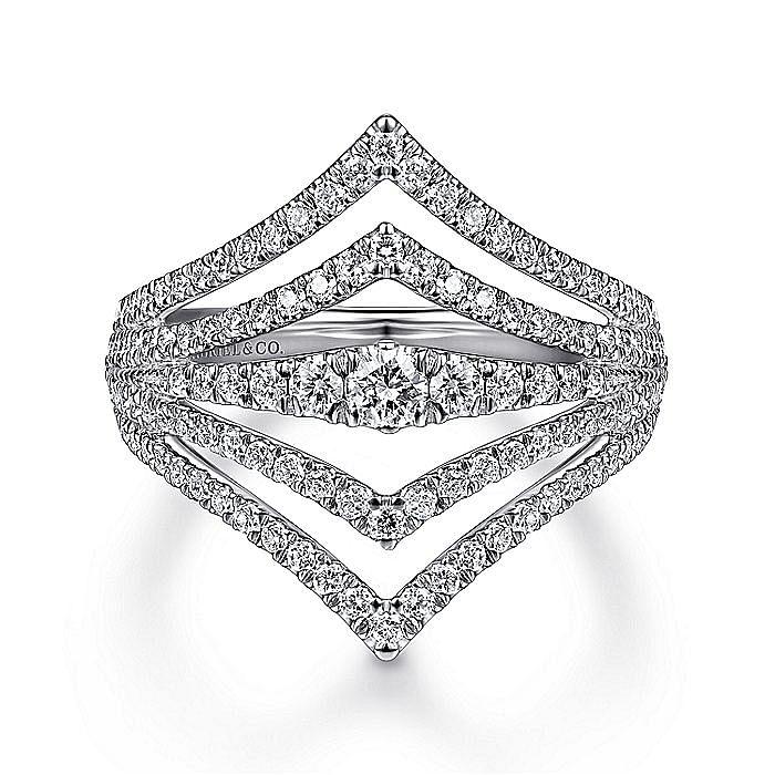14K White Gold Open Triangles Multi Row Diamond Ring